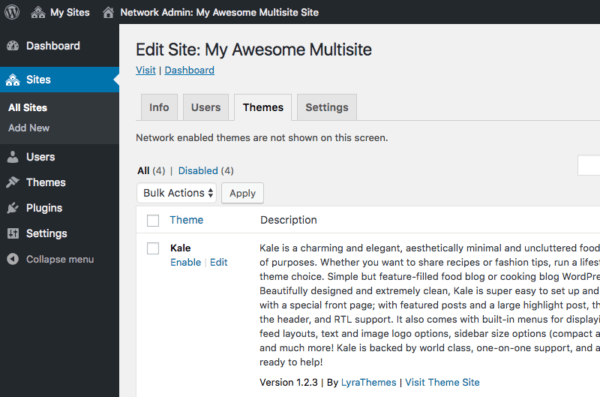 Enabling a theme for a multisite sub-site.