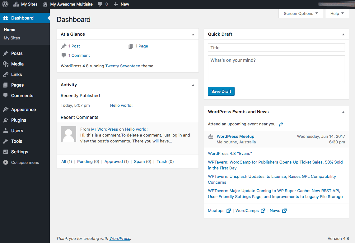 WordPress multisite dashboard.