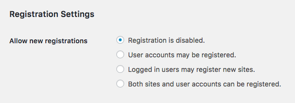 WordPress multisite registration settings