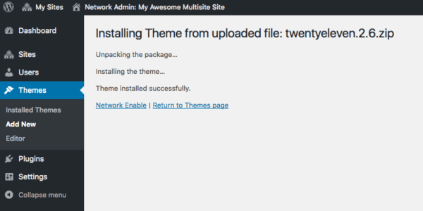 Network enabling a new theme in WordPress multisite.