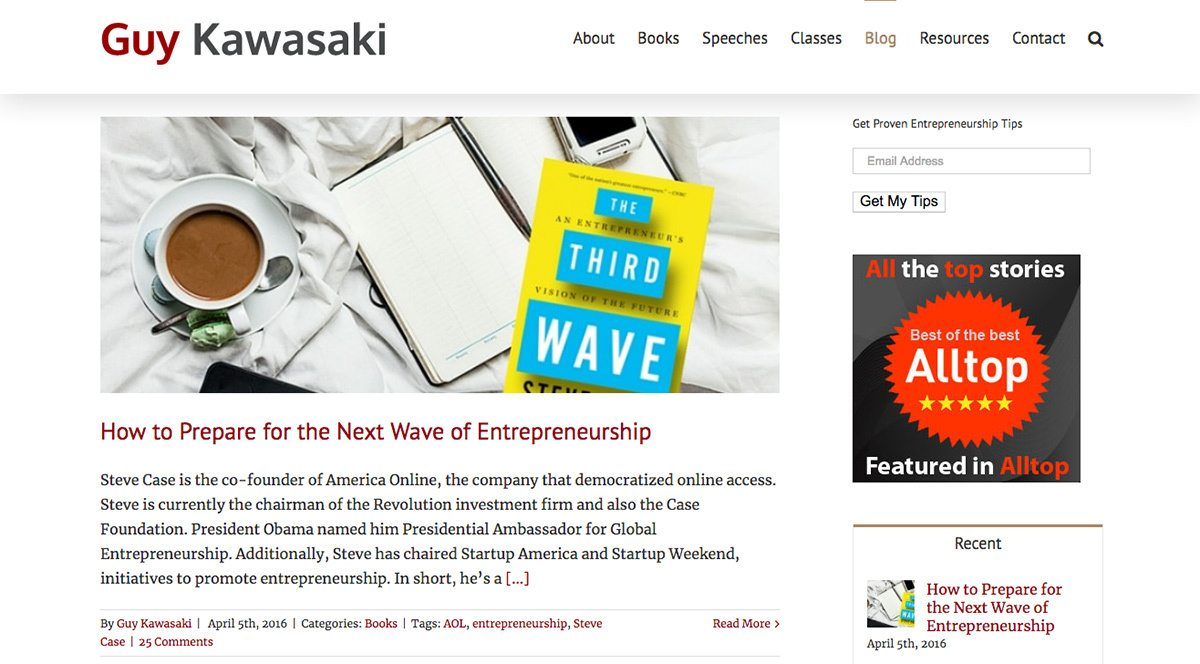 Guy Kawasaki's blog