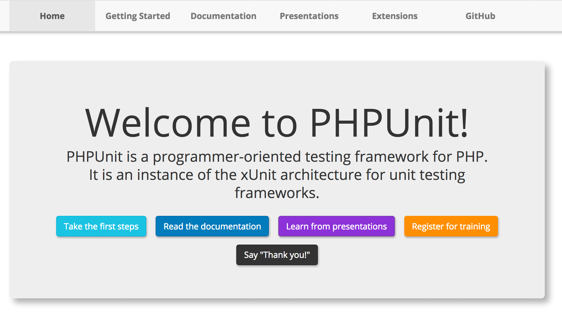 The PHPUnit website.