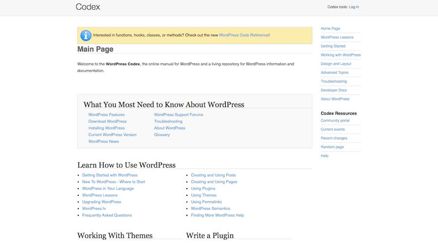 WordPress Codex Main Page