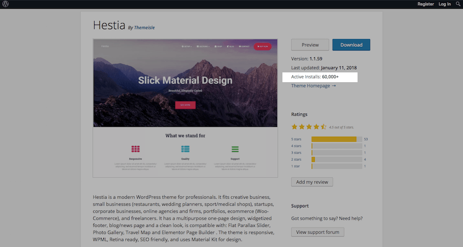 WordPress Theme Evaluation-installs