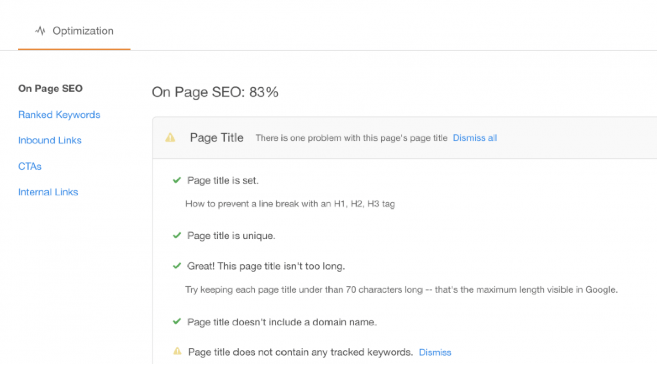 HubSpot on-page SEO