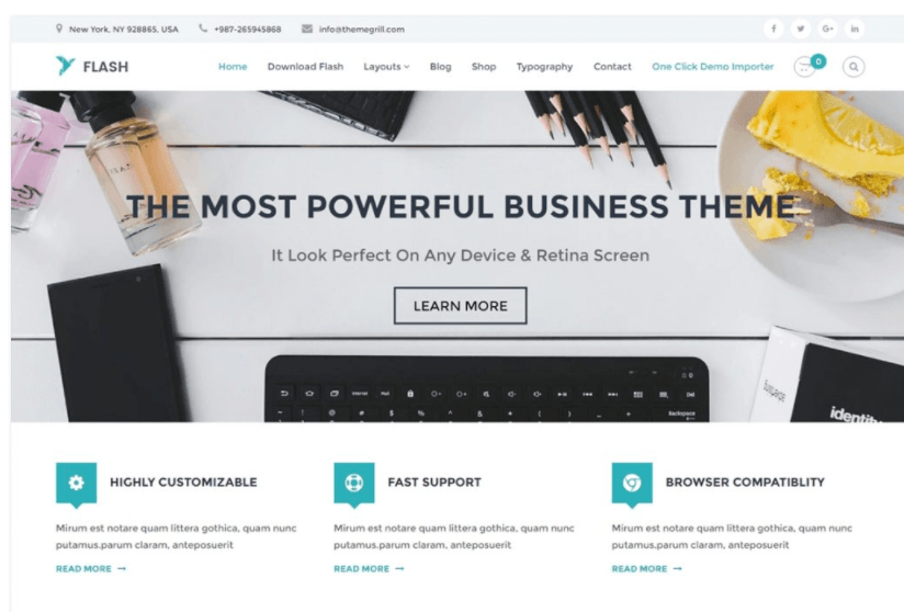 10 beautiful wordpress business themes for 2018 download the ultra responsive flexible and stunning flash template for your business wordpress theme though its a free theme its not lacking friedricerecipe Choice Image