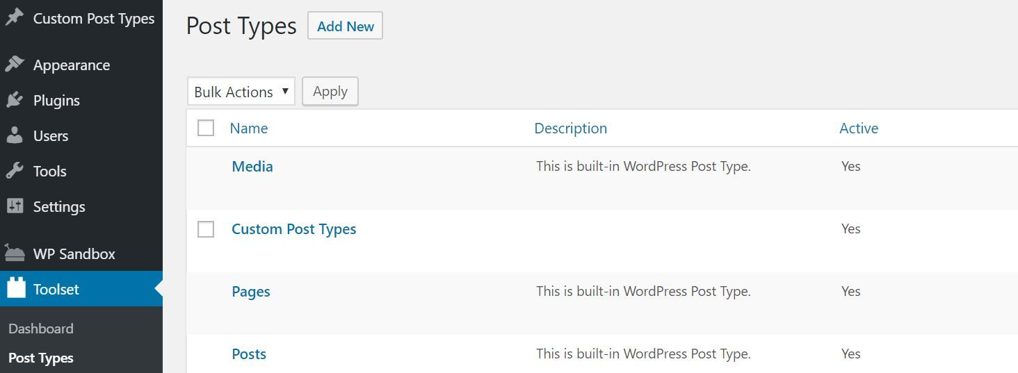 Toolset Types Add New Post Type Option