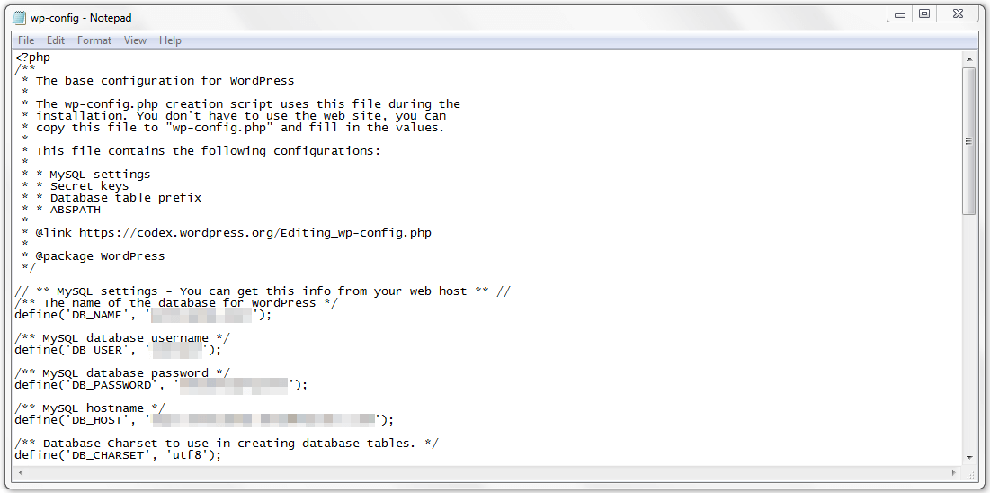 The wp-config.php file in a text editor.