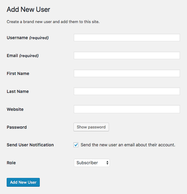 Adding new user details in WordPress