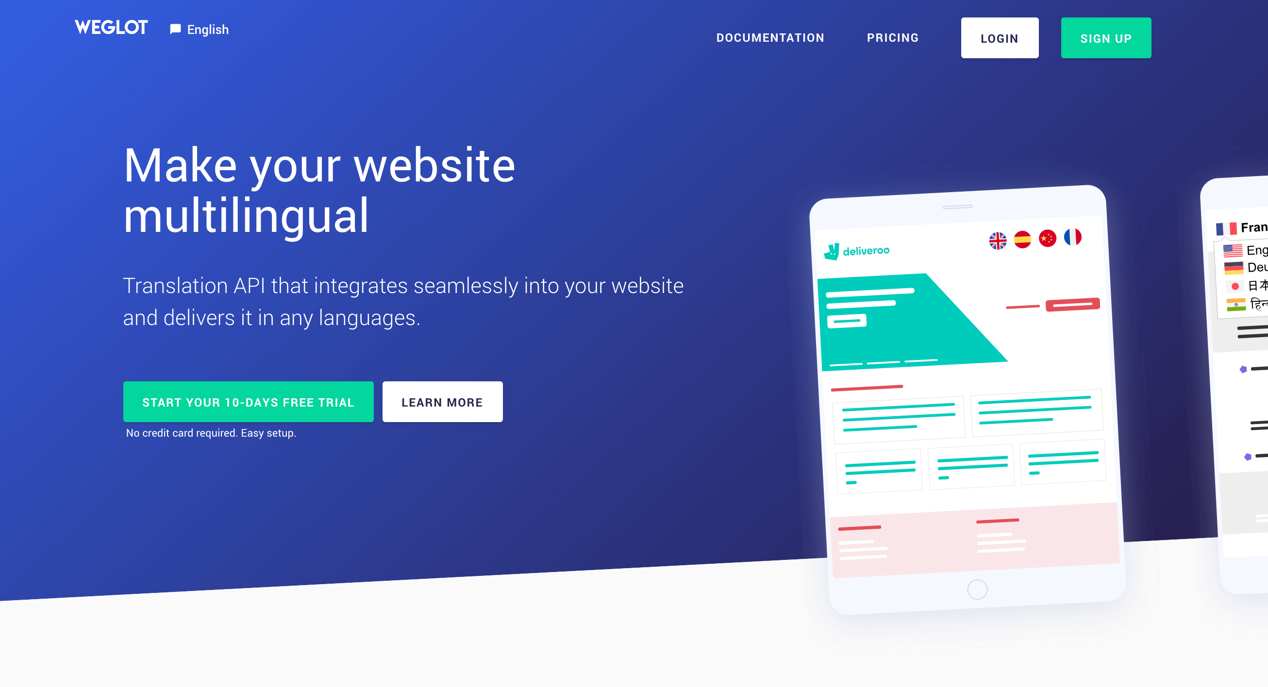 The Weglot Translate home page.