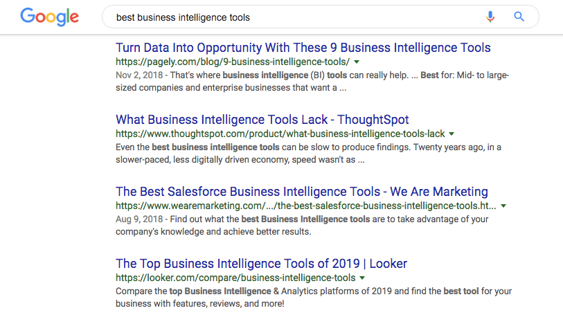 best business intelligence tools search results