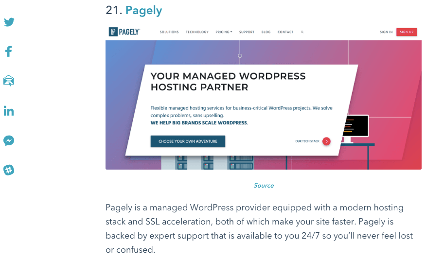 pagely on the hubspot best of list