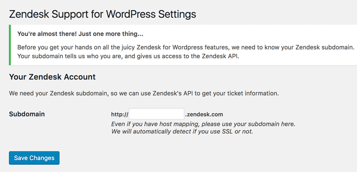 A screenshot of a typical Zendesk setup page within WordPress, offering a user easy access to customer support solutions