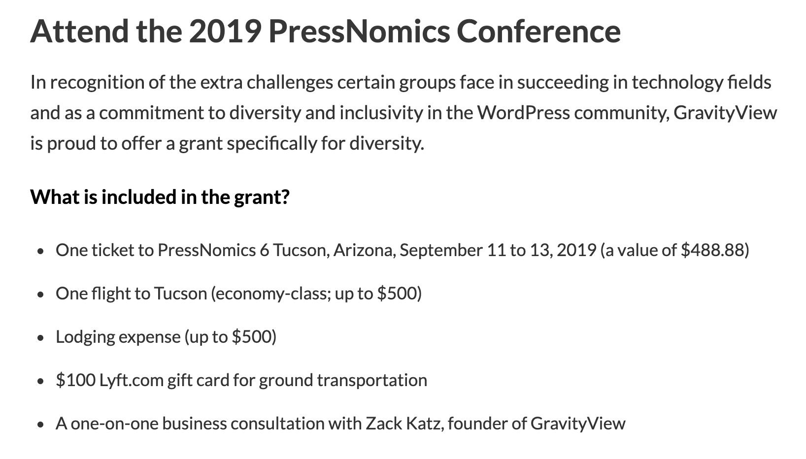 gravityviews diversity grant